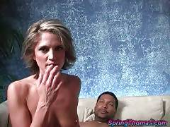 Awesome white babe pleasures her two horny black fuckers.